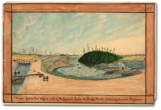 Aquarelle: View from the Upper end of the Guard Lock at Hog's Back; looking towards Bytown, 1845