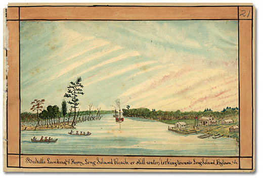 Aquarelle: Beckett's Landing & Ferry, Long Island Reach or stillwater, looking towards Long Island, Bytown, &c, 1835