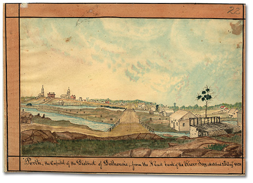 Aquarelle: Perth, the Capital of the District of Dalhousie; from the N-East bank of the River Tay, 1828