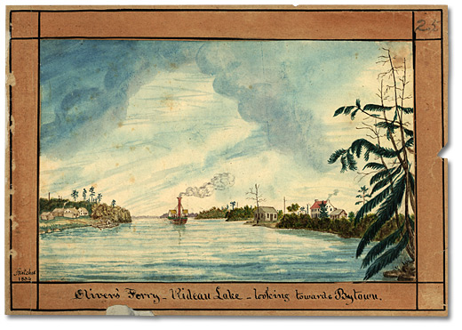 Aquarelle: Oliver's Ferry - Rideau Lake; looking towards Bytown, 1834