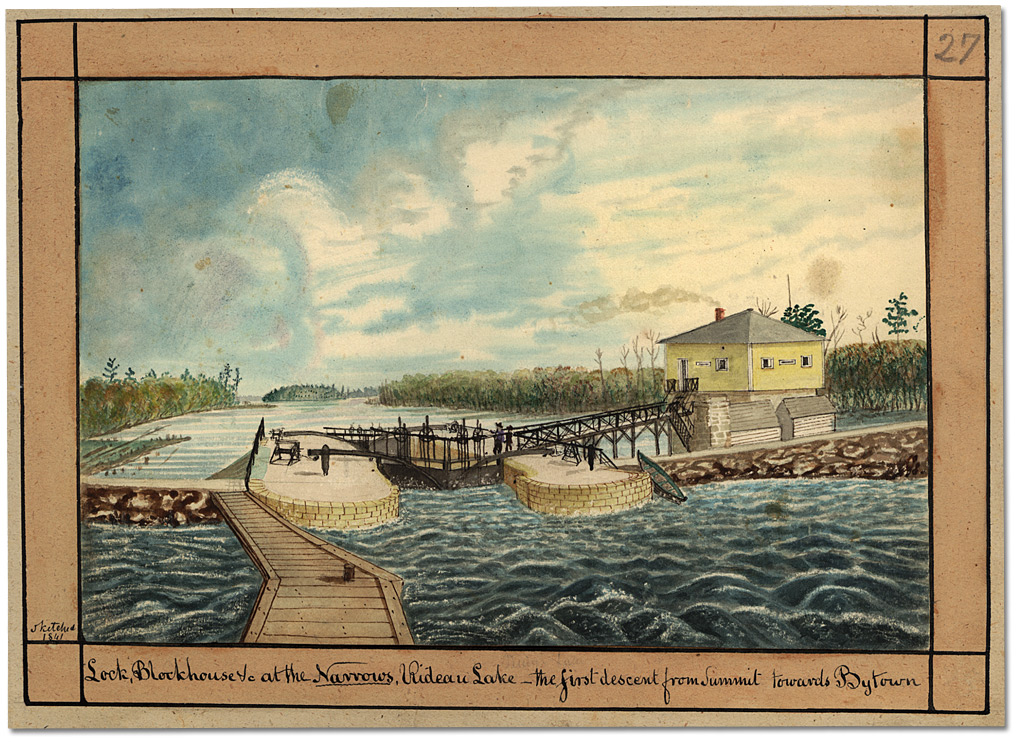 Aquarelle : Lock, Blockhouse &c at the Narrows, Rideau Lake - the first descent from Summit towards Bytown, 1841