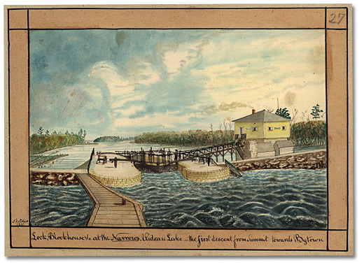 Aquarelle: Lock, Blockhouse &c at the Narrows, Rideau Lake - the first descent from Summit towards Bytown, 1841