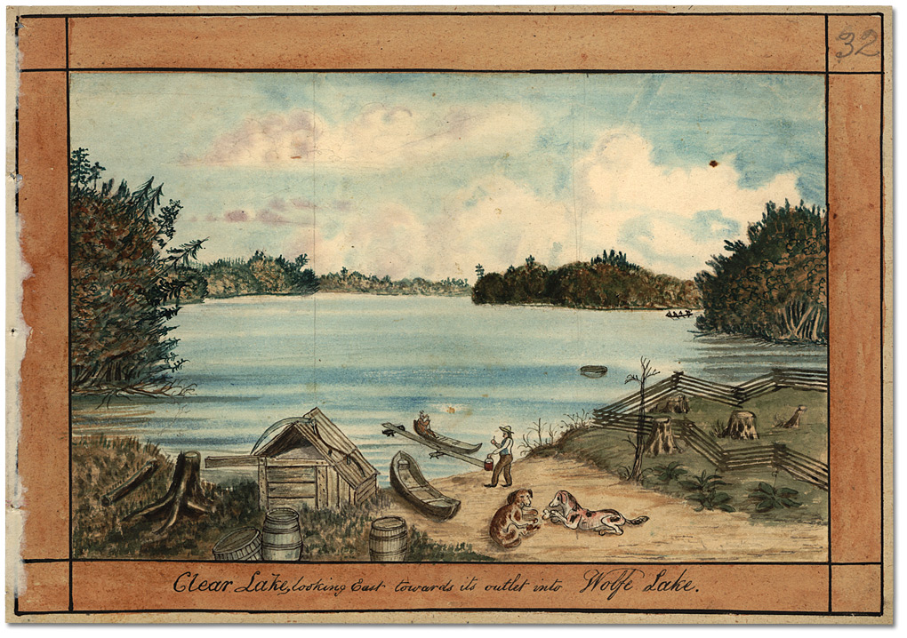 Aquarelle : Clear Lake looking east towards its outlet into Wolfe Lake, 1835