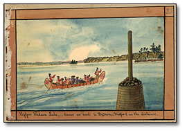 Aquarelle: Upper Rideau Lake; Canoe en route to Bytown; Westport in the distance, 1830