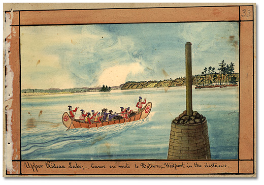 Aquarelle : Upper Rideau Lake; Canoe en foute to Bytown; Westport in the Distance