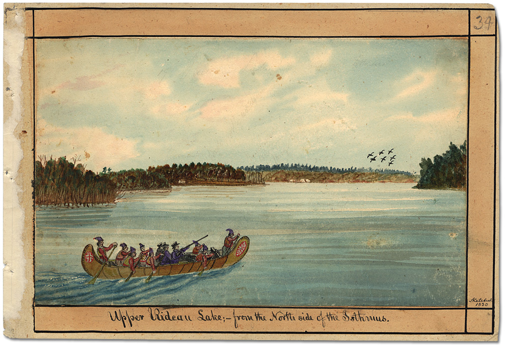Aquarelle : Upper Rideau Lake; from the North side of the Isthmus, 1830