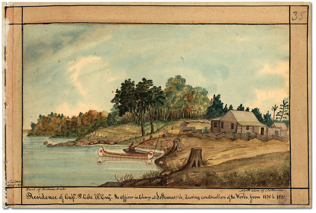 Aquarelle : Residence of Cap.tn P. Cole, R. Eng. Rs the Officer in charge at Isthmus, &c. during construction of the Works, from 1830 to 1832, 1830