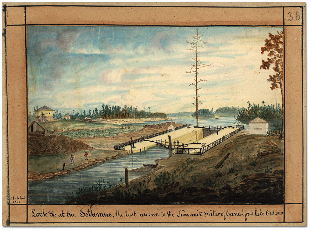 Aquarelle : Lock &c at the Istmus, the last ascent to the Summit Water of Canal from Lake Ontario, 1841