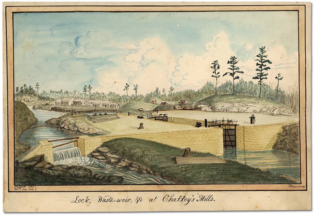 Aquarelle : Lock, Waste-weir, &c at Chaffey's Mills Sketched 1833, Col'd. Jny. 1841, 1833