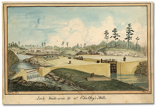 Aquarelle: Lock, Waste-weir, &c at Chaffey's Mills Sketched 1833, Col'd. Jny. 1841, 1833