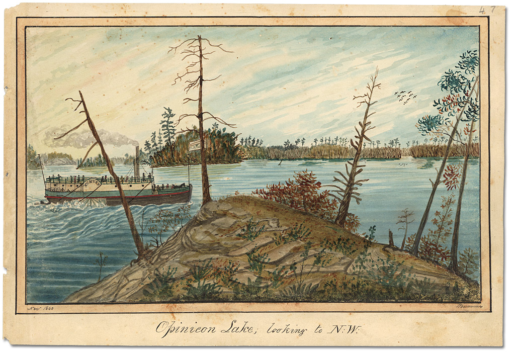 Aquarelle : Opinicon Lake looking to N.W., 1840