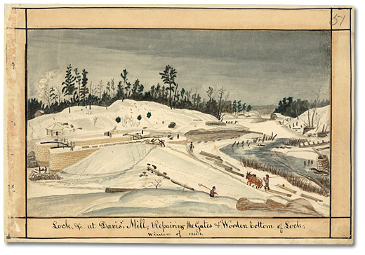 Aquarelle: Lock, &c at Davis's Mill; Repairing the Gates & Wooden bottom of Lock; winter of 1843-4, 1843
