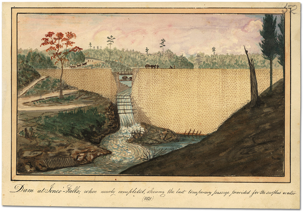 Aquarelle : Dam at Jones' Falls; when nearly completed, shewing the last temporary passage provided for the surplus water, 1841