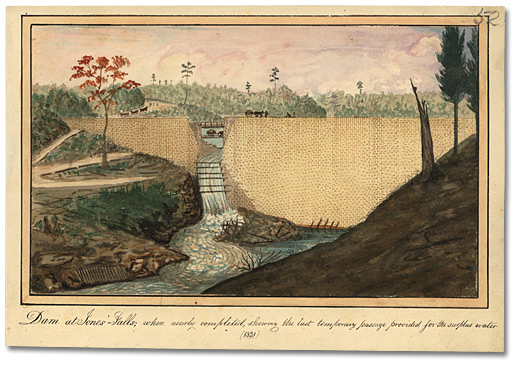 Aquarelle: Dam at Jones' Falls; when nearly completed, shewing the last temporary passage provided for the surplus water, 1841