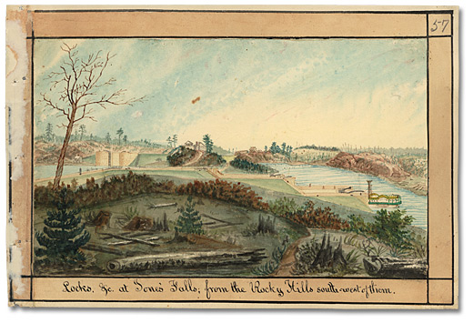 Aquarelle: Locks, &c at Jones' Falls; from the Rocky Hills south-west of them, [vers 1835]