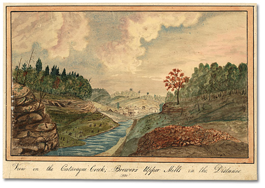 Aquarelle : View on the Cataraqui Creek, Brewer's Upper Mills in the background, 1830