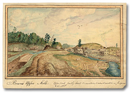 Aquarelle: Brewer's Upper Mills: Upper lock partly built, Excavations, Embankments &c. in progress, 1830