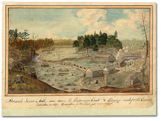 Aquarelle: Brewer's Lower Mill; View down the Cataraqui Creek, & and Clearing made for the Canal. Excavation for the Lock just commenced, 1829