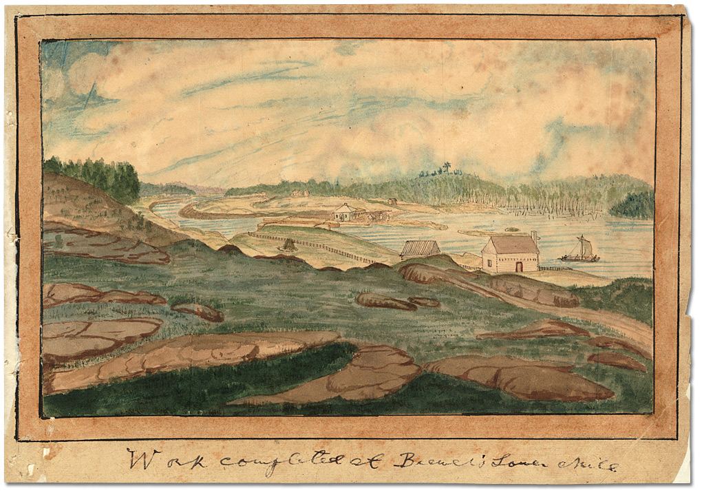 Aquarelle : Work completed at Brewer's Lower Mills, 1832