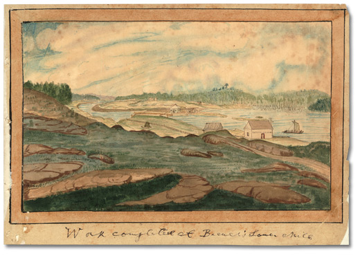 Aquarelle: Work completed at Brewer's Lower Mills, 1832