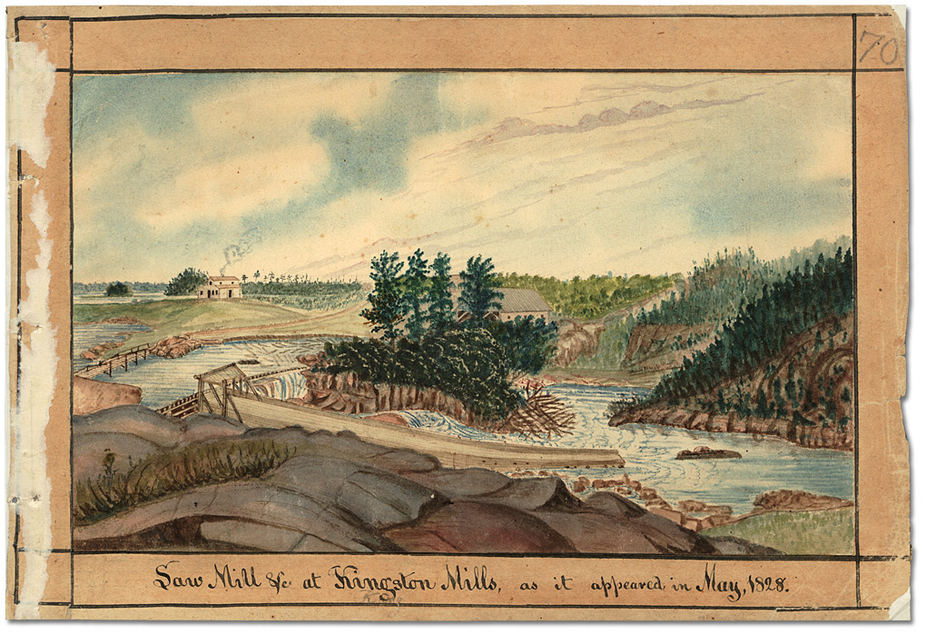 Aquarelle : Saw Mill &c. at Kingston Mills, as it appeared in May 1828, 1828