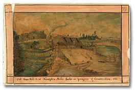 Aquarelle : Locks under construction, at the Saw Mill at Kingston Mills, 1830