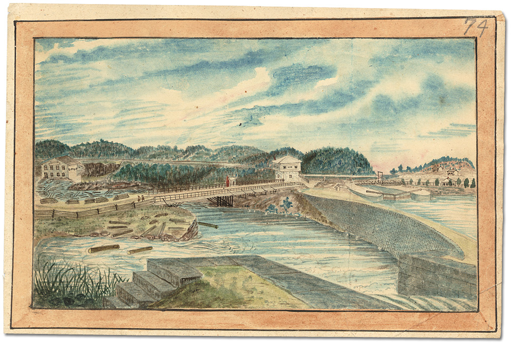 Aquarelle : Lower Kingston Mills, Grand Trunk Railway bridge completed, 1856