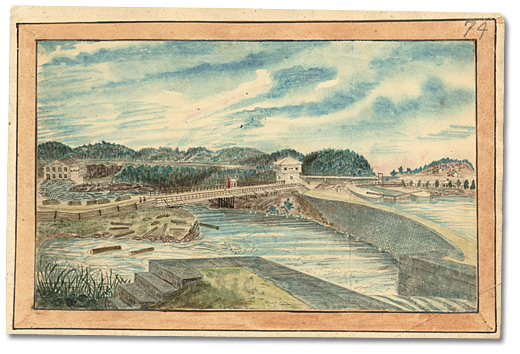 Aquarelle: Lower Kingston Mills, Grand Trunk Railway bridge completed, 1856