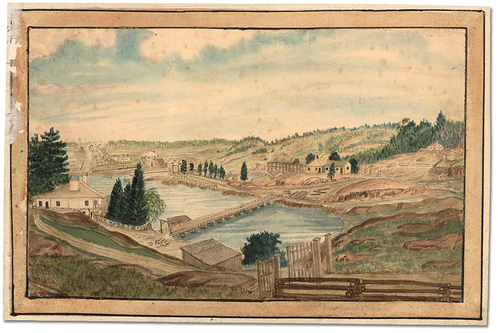 Aquarelle : Kingston Mills; showing home of Captain Thomas Burrowes, 1856