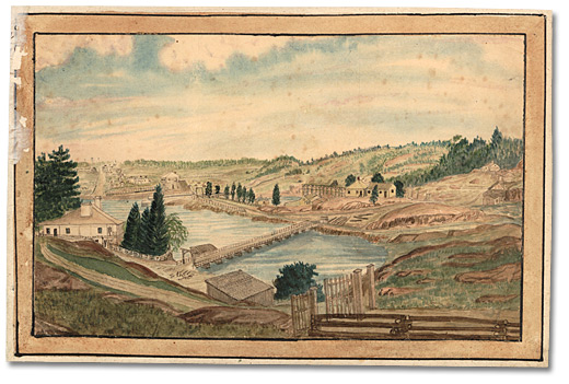 Aquarelle: Kingston Mills; showing home of Captain Thomas Burrowes, 1856