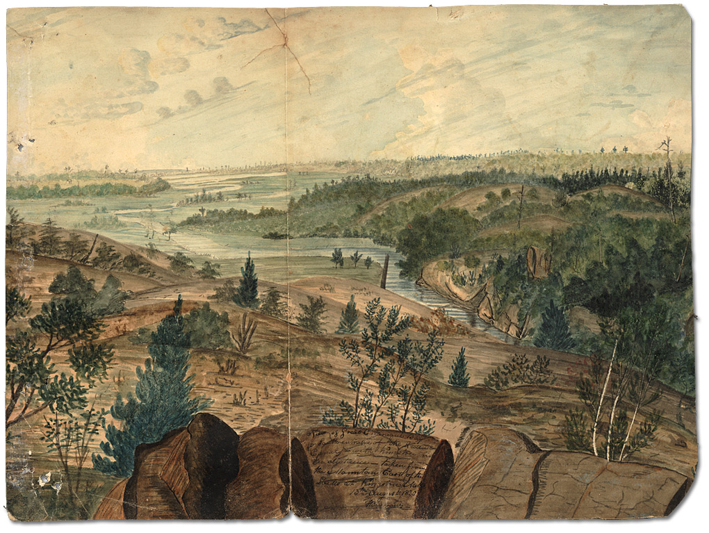 Aquarelle : View of the Great Cataraqui Bay or South Entrance of the Rideau Canal with Kingston in the distance – taken from the Mountain East of the Locks at Kingston Mills, 1830