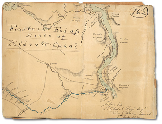 Map of Eastern End of Rideau Canal, 1830