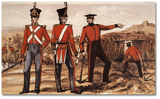 Lithographie : Royal Sappers & Miners, Uniforms and Working Dress, 1825
