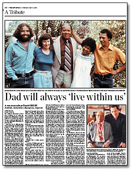 Article du Toronto Star, A Tribute - Dad will always 'live within us', 6 juillet 2003