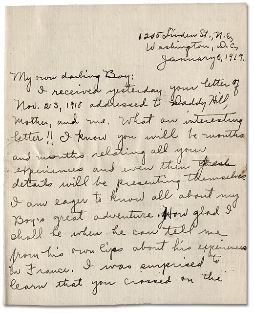 Letter from May Edwards Hill to Daniel G. Hill II, January 5, 1919, Page 1