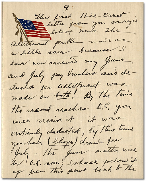 Lettre de Daniel Hill  jr. à May Edwards Hill, le 1 août, 1918, Page9