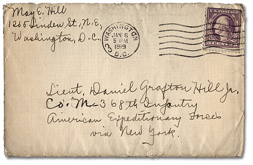 Envelope Containing May Edward Hills Letter To Daniel Hill Jr January 5 1919