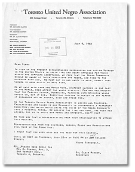 Letter from St. Clair Pindar of the Toronto United Negro Association to Daniel G. Hill and others, July 9, 1963