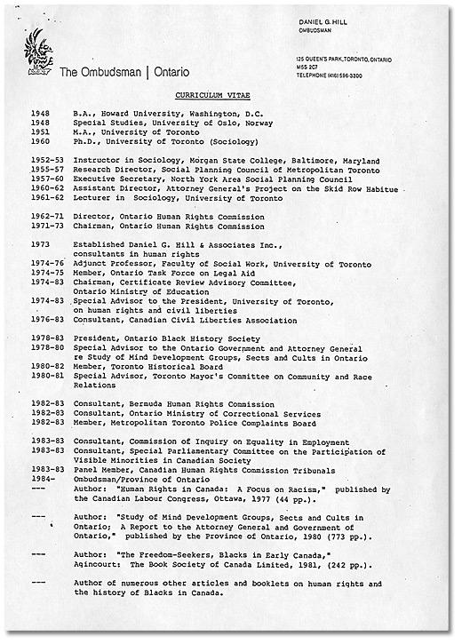 Daniel G Hill Curriculum Vitae Page 1