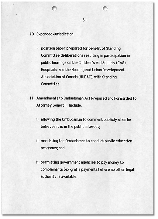 Ombudsman Initiatives 1984-1989, Page 6