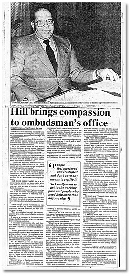 "CCoupure du Windsor Star, ""Hill brings compassion to ombudsman's office"", 19 janvier 1985"