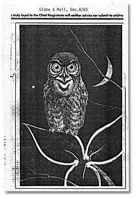 Caricature d'un hibou, du Globe and Mail, 8 décembre 1983