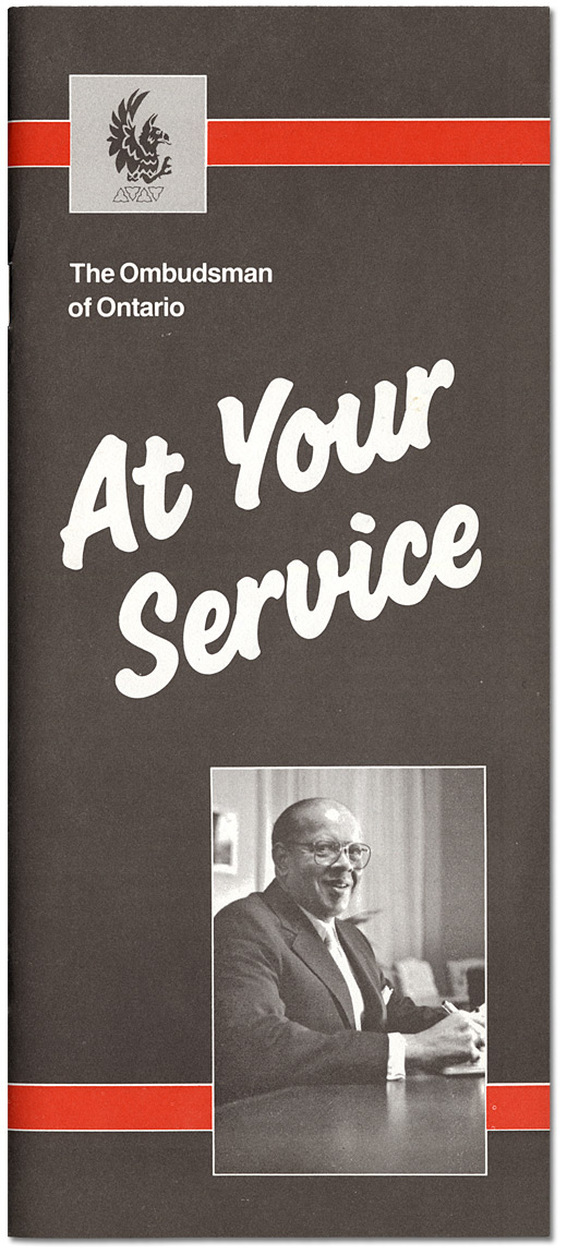 "Couverture : Brochure de l'Ombudsman de l'Ontario, ""At Your Service"", [vers 1984-1988]"