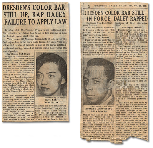"Coupure de Toronto Daily Star, ""Dresden's Color Bar Still Up, Rap Daley Failure to Apply Law"", 30 octobre 1954"