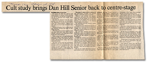 Clipping from the Toronto Star, Cult study brings Dan Hill Senior back to centre-stage, October 28, 1978