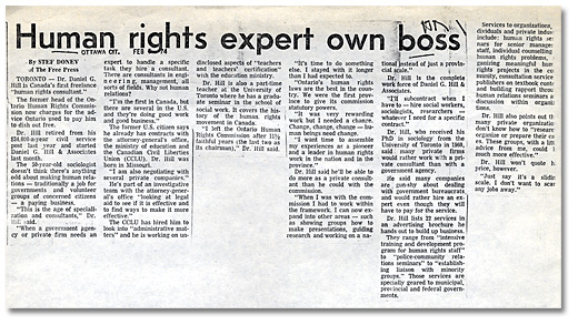 Clipping from the Ottawa Citizen, Human rights expert own boss, February 1974