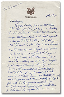 Letter from Daniel G. Hill to mother, April 25, 1943