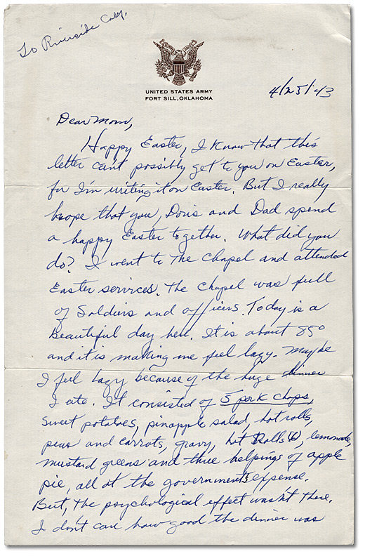 Letter from Daniel G. Hill to mother, April 25, 1943, Page 1