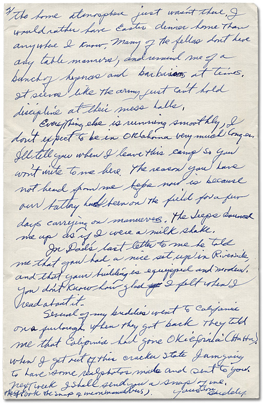 Letter from Daniel G. Hill to mother, April 25, 1943, Page 2