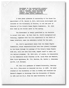 Statement to the Legislative Assembly on April 3, 1962